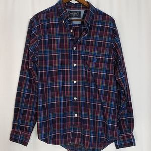 Mens Nautica Plaid Long Sleeve Button Up Large
